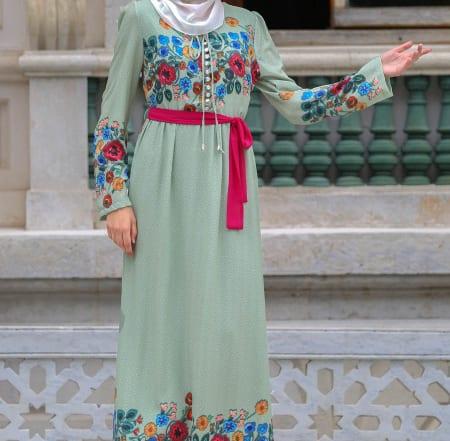neva-style-cicek-desenli-yesil-tesettur-elbise-7719y-36030-13-O